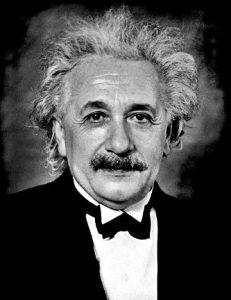 Albert Einstein in black and white