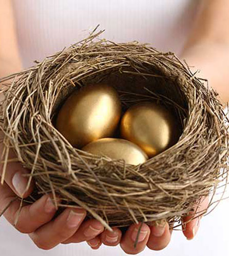 Golden eggs in a basket