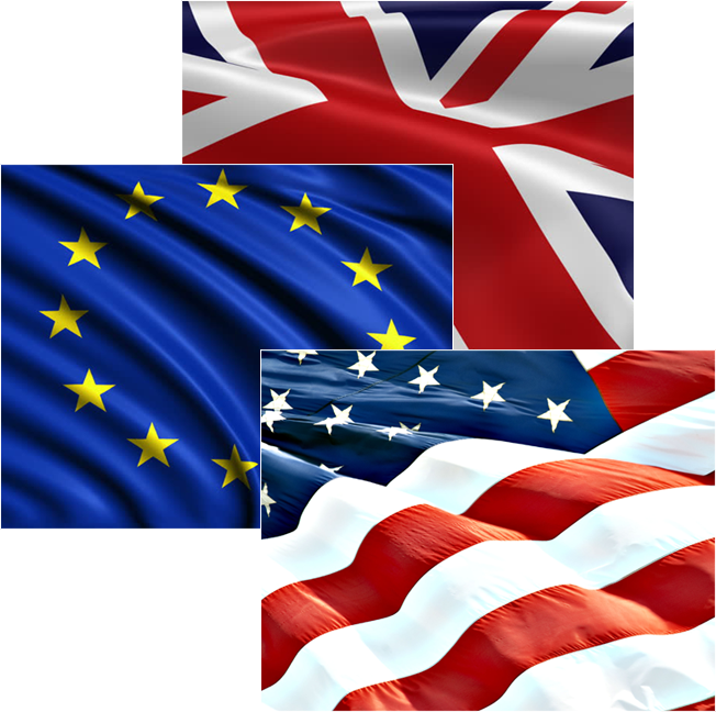 Combination of UK, USA and European flags