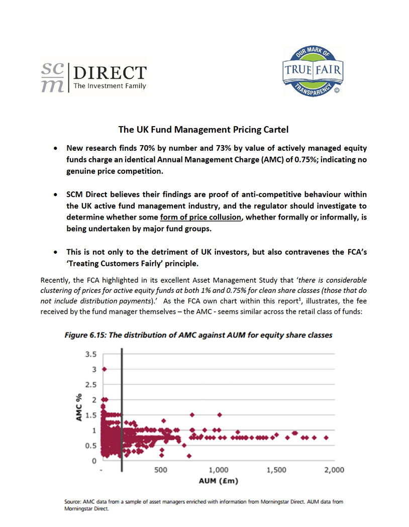 Recently, the FCA highlighted in its excellent Asset Management Study that 'there is considerable clustering of prices for active equity funds at both 1% and 0.75% for clean share classes (those that do not include distribution payments).' As the FCA own chart within this report1, illustrates, the fee received by the fund manager themselves – the AMC – seems similar across the retail class of funds.