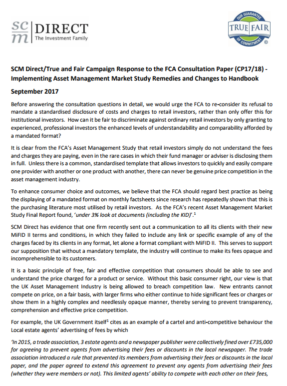 SCM Direct/True and Fair Campaign Response to the FCA Consultation Paper (CP17/18) - Implementing Asset Management Market Study Remedies and Changes to Handbook